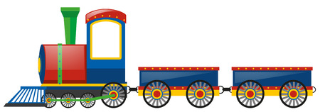 bogie: Train and two wagon carts illustration