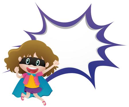 bulletin: Girl hero and splash template illustration Illustration