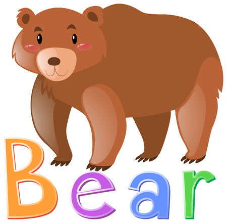 Wordcard for grizzly bear illustration