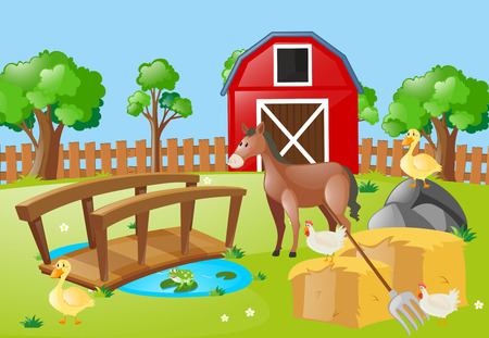 Farm scene with animals in the field illustration