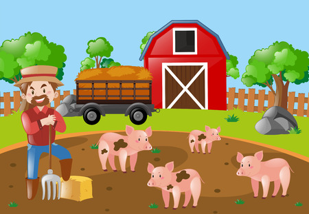 Farmer and pigs in the mud field illustration