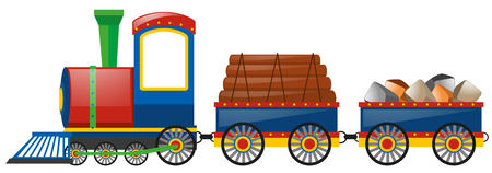 bogie: Train loaded with woods and stones illustration Illustration
