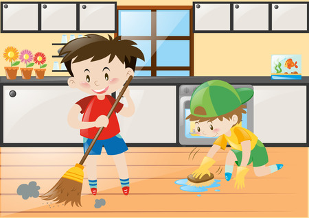 cleaning kitchen: Two boys cleaning the kitchen at home illustration Illustration