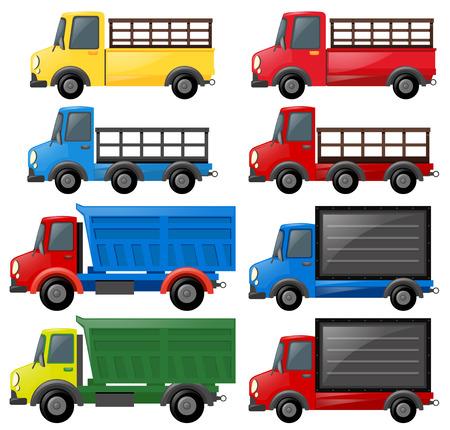 Different kinds of trucks illustration