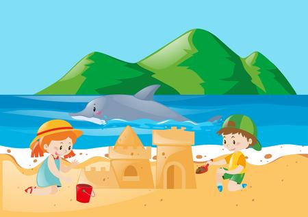 sandcastle: Two kids playing sandcastle on the beach illustration Illustration