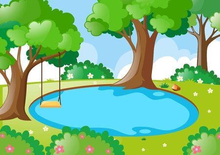 Estanque en la ilustración del bosque