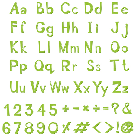 numbers clipart: Alphabet design in green color illustration Illustration