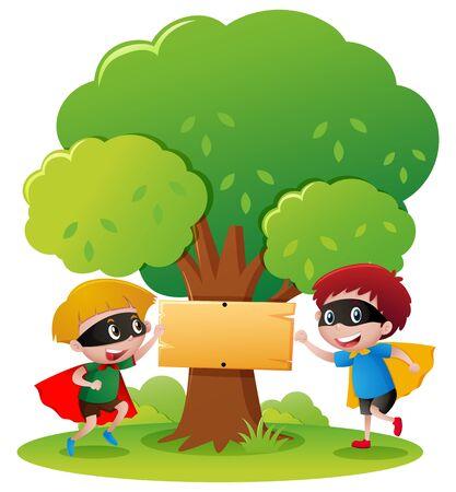 heros: Two boy heros in the park illustration Illustration