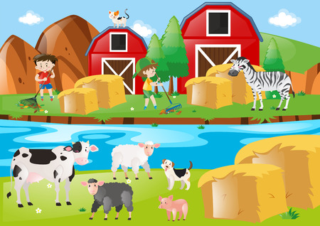 Farm scene with kids raking leaves illustration