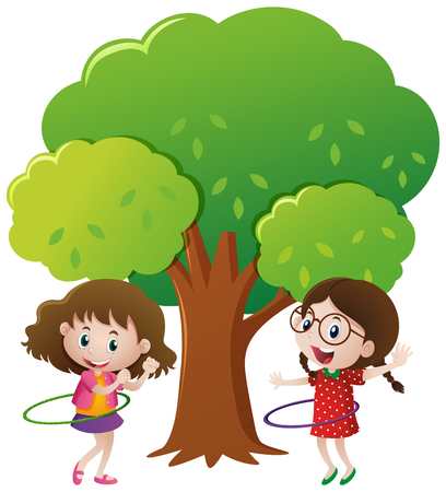 hulahoop: Two girls playing hulahoop under the tree illustration Illustration
