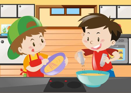 Two boys cooking in the kitchen illustration Illustration