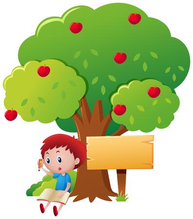 écriture Boy sous l'illustration de pommier