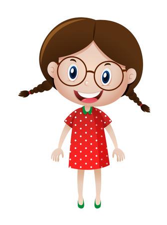 girl glasses: Little girl wearing glasses illustration Illustration