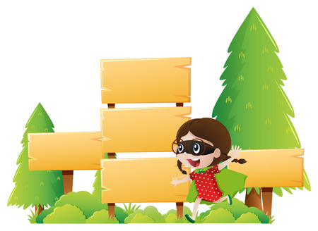 Girl and many wooden signs in park illustration Illustration