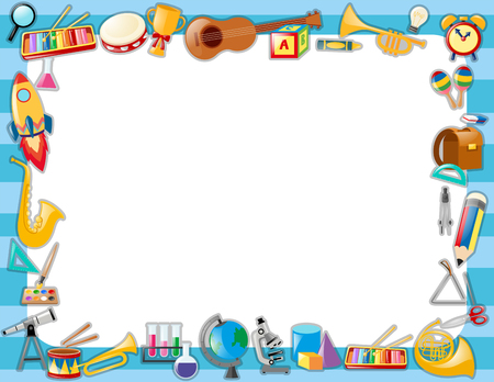 Border template with many school objects illustration Illustration