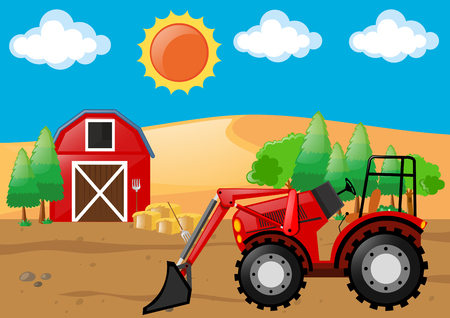 Farm scene with tractor and barn illustration