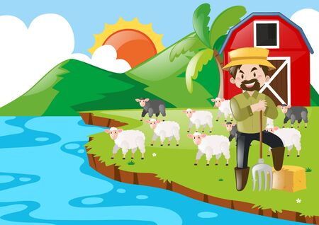 Farmer and sheeps in the farm illustration