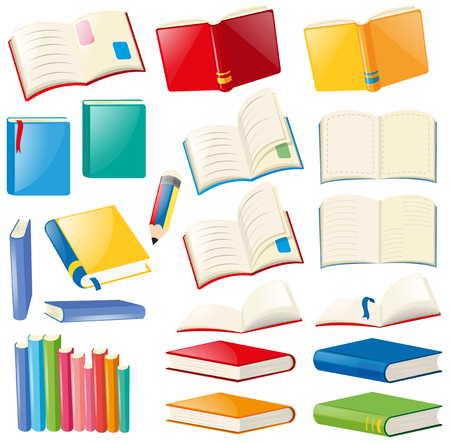 Different design of book and notebooks illustration Illustration