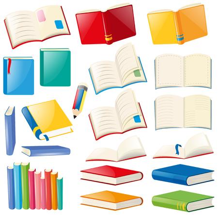 Verschillende ontwerpen van boeken en notebooks illustratie