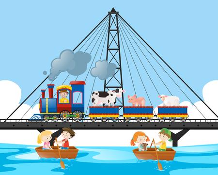 Train ride on the bridge illustration Illustration