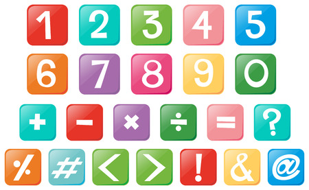 Number and signs on square buttons illustration Illustration