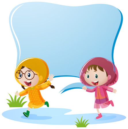Border design with two girls in raincoat illustration