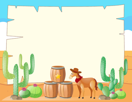 writing western: Frame template with horse in the field illustration