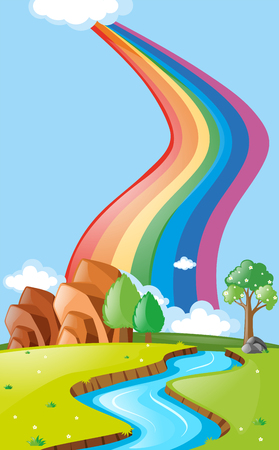 river rock: Scene with rainbow over the river illustration