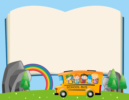 message board: Frame template with kids on school bus illustration