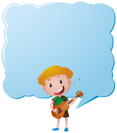 boy playing guitar: Border template with boy playing guitar illustration Illustration