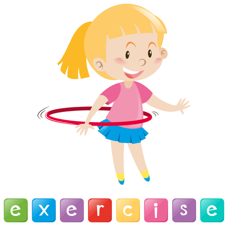 hulahoop: Wordcard with girl exercising illustration