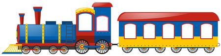 Train and single bogie on white background illustration