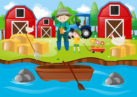 Farmer and boy in the farmyard illustration Illustration