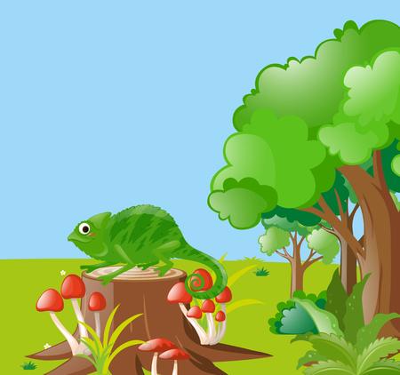 lizard in field: Escena con el lagarto en el campo Ilustración