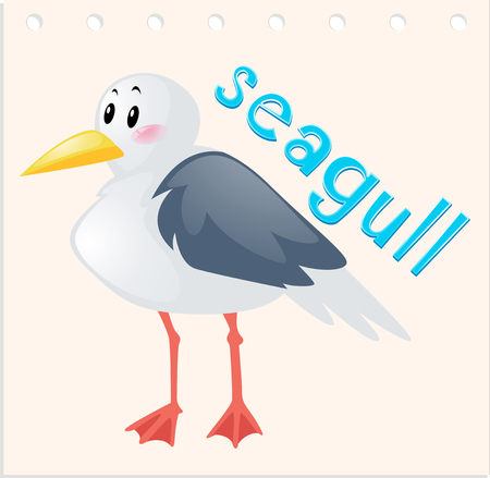 Wordcard with wild seagull illustration Illustration