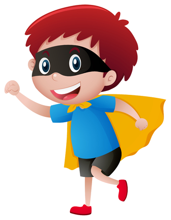 Little boy wearing mask and cape illustration