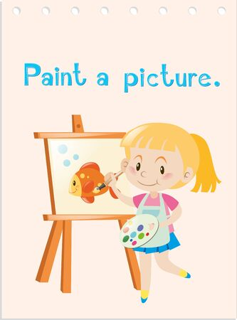 Wordcard with girl painting picture illustration