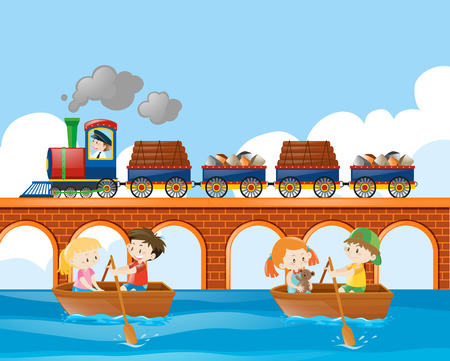 rowboat: Scene with train and kids rowing boat illustration