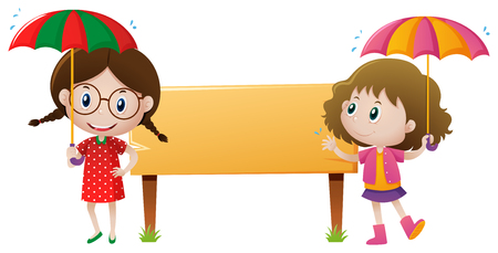 Two girls with umbrella by the sign illustration