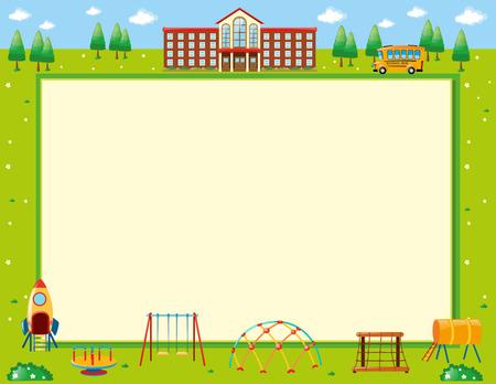 Konstrukcja ramy z ilustracją szkoły i placu zabaw