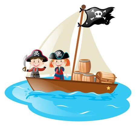 Two pirates sailing at sea illustration