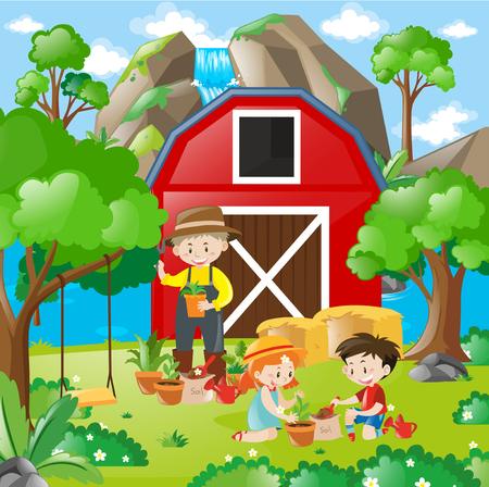 planting tree: Kids planting tree in the garden illustration
