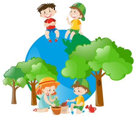 Environmental theme with kids and tree illustration