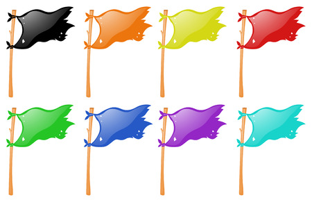 wooden stick: Different color flags on wooden stick illustration