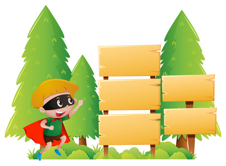 Boy and many wooden signs in park illustration