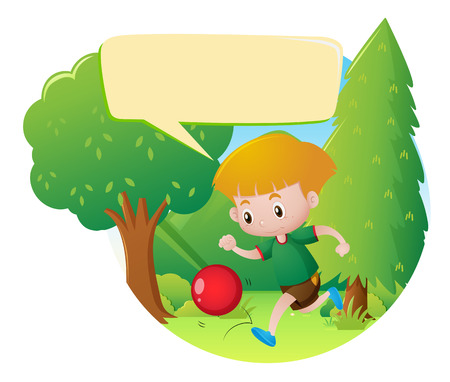 ball park: Park scene with boy playing ball illustration