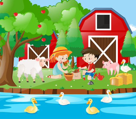Farm scene with kids planting tree illustration Illustration