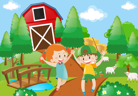 Boy and girl playing in the farmyard illustration Illustration