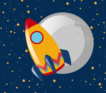 unidentified flying object: Rocket ride to the moon at night illustration Illustration