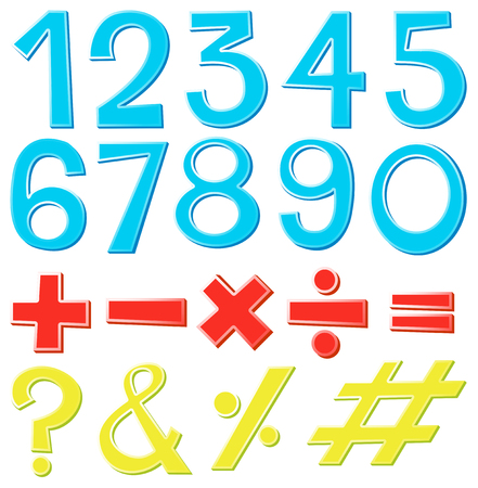 Font design for numbers and signs illustration Illustration